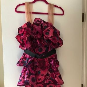 Lanvin For H&M Floral Ruffle Cocktail Dress Sz 10
